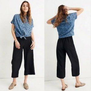 NEW Madewell Black Huston Pull-On Crop Pants